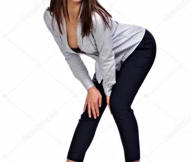 Sexy Business Woman In A Blouse And Trousers Stock Photo