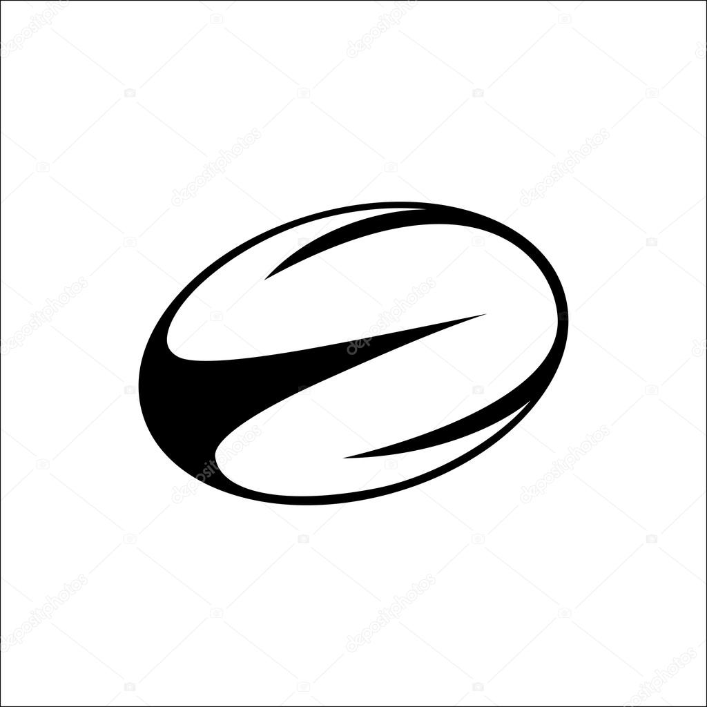 Vector Illustration Of Black White Rugby Ball