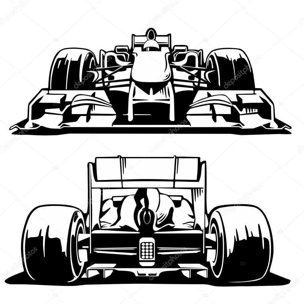 Racing Car Front And Back View Formula 1