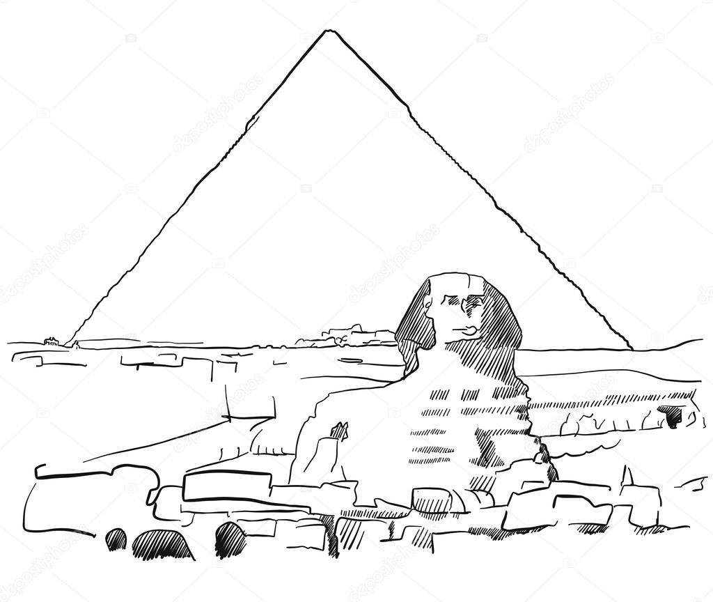 Giza Sfingy S Pyramid Nakreslil