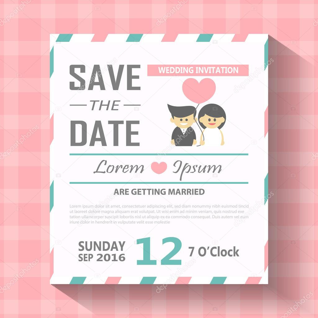 """· let's make it """"little bit funky"""" with a gif. Wedding Invitation Card Template Vector Illustration Wedding Invitation Card Editable With Background Chevron Font Type Save The Date Cartoon Set Stock Vector Image By C New7ducks 98087334"""