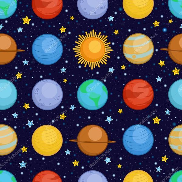 Planeterna i solsystemet i rymden, tecknad stil sömlösa ...