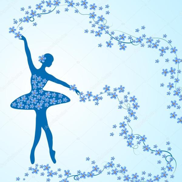Cartolina dauguri con la ballerina tenera e fiori