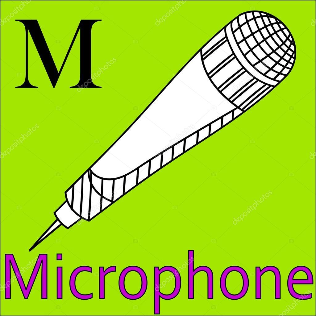 Letra M Alfabeto Vectorial Microfono De Libro Para