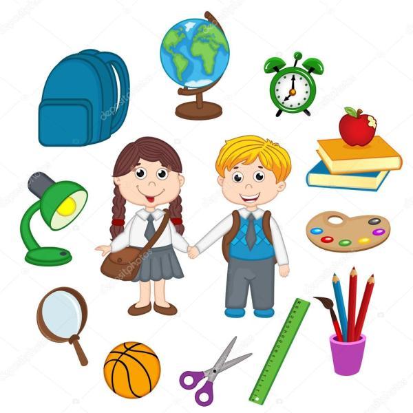 Набор изолированных детей и школьных принадлежностей ...
