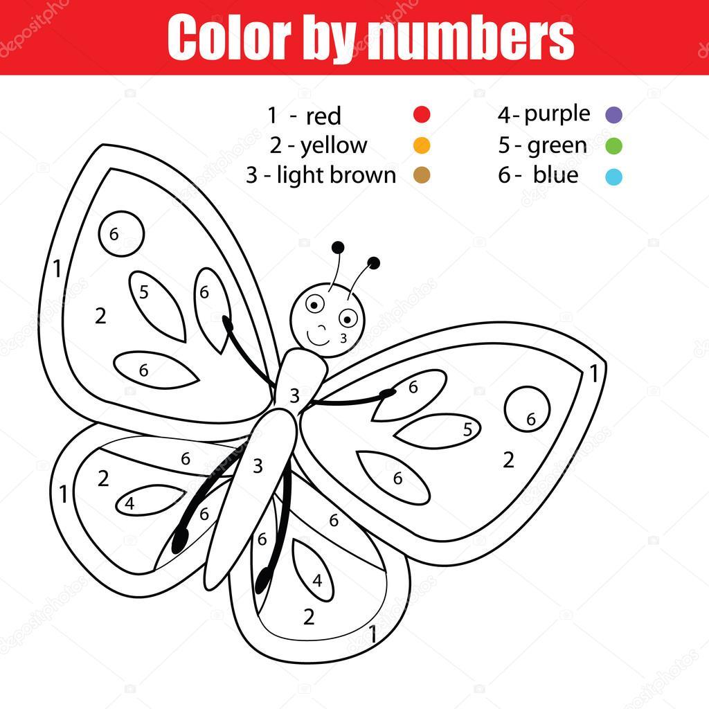 Pagina Para Colorir Com Borboleta Cor Jogo De Numeros