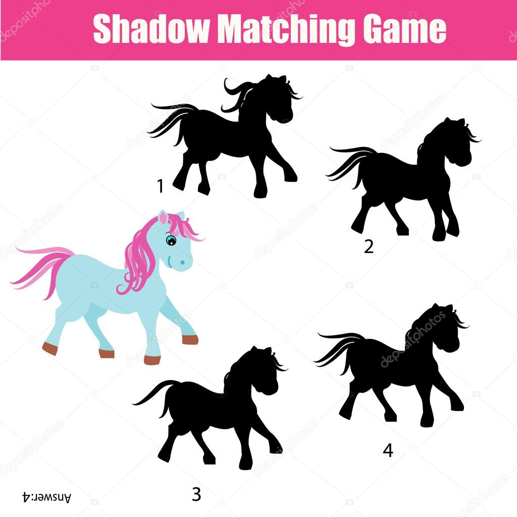 Shadow Matching Game With Animals Theme Kids Activity