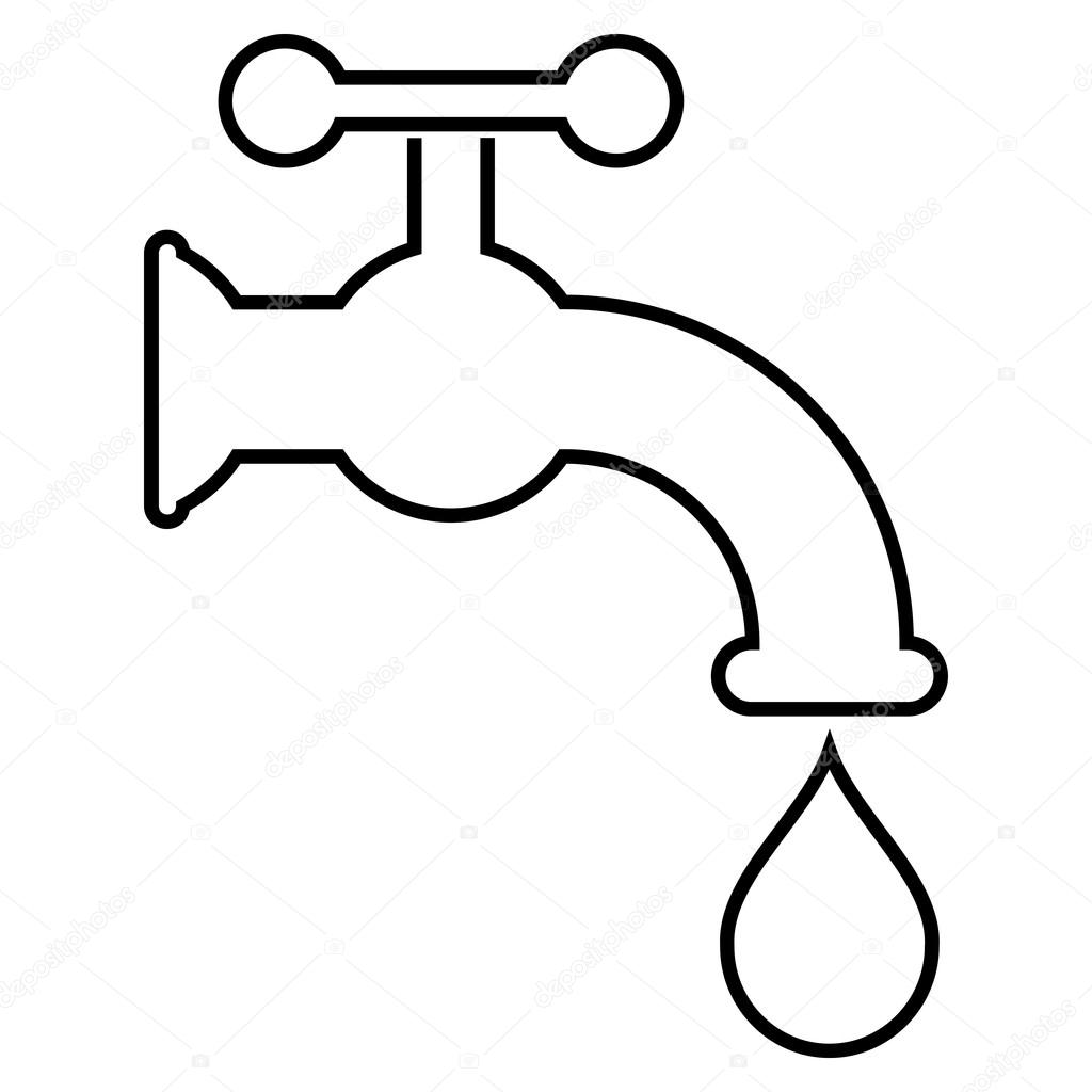 Water Tap Outline Vector Icon