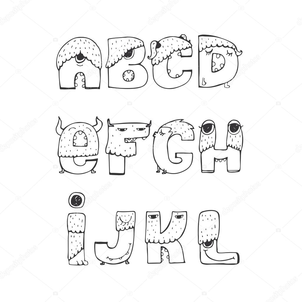 Vector Set Of Fun Funky Monster Font A To L Hand Drawn
