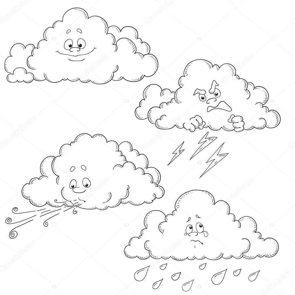Conjunto De Nubes De Dibujos Animados Caracteres Del Vector Libro Para Colorear