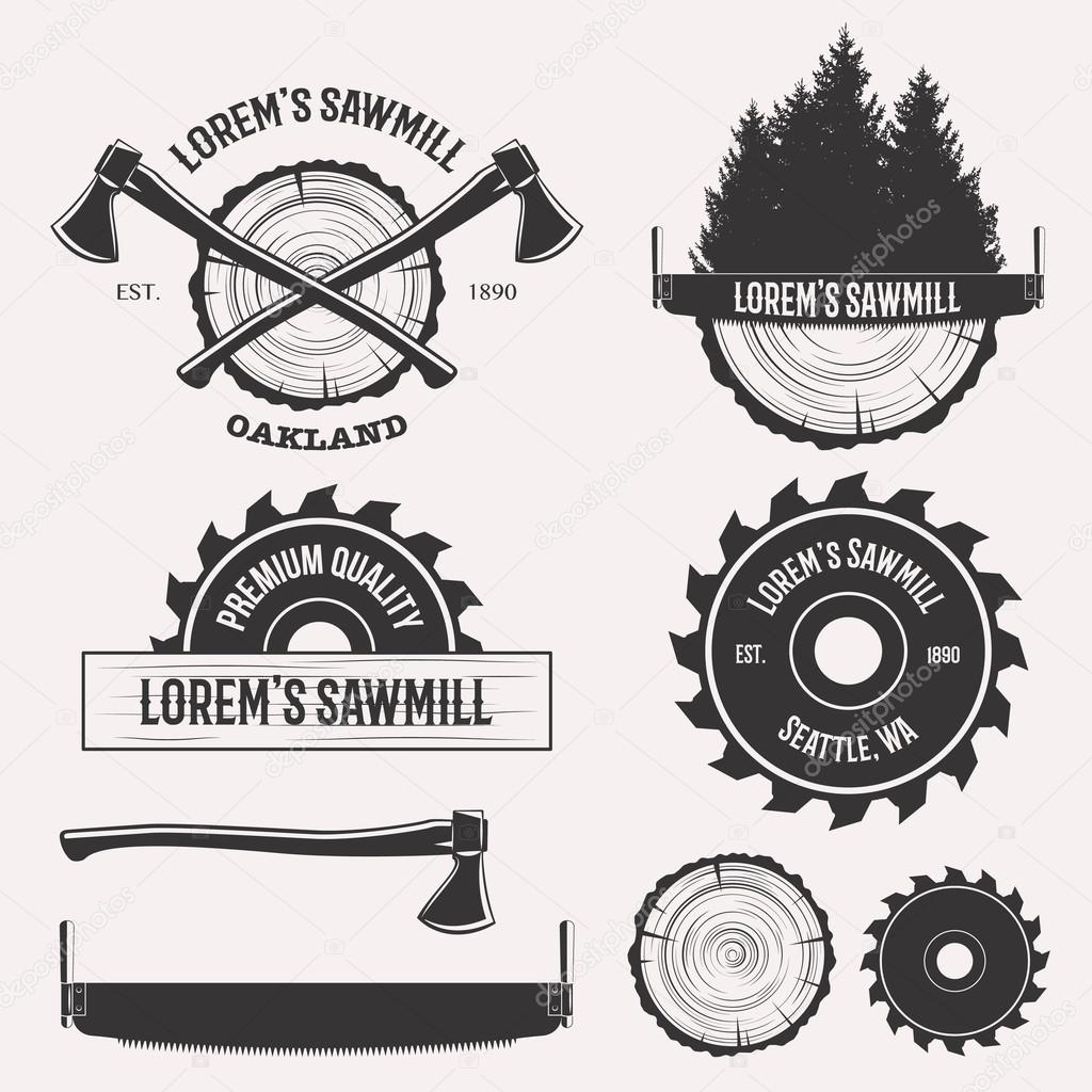 Conjunto De Logotipo De Aserradero