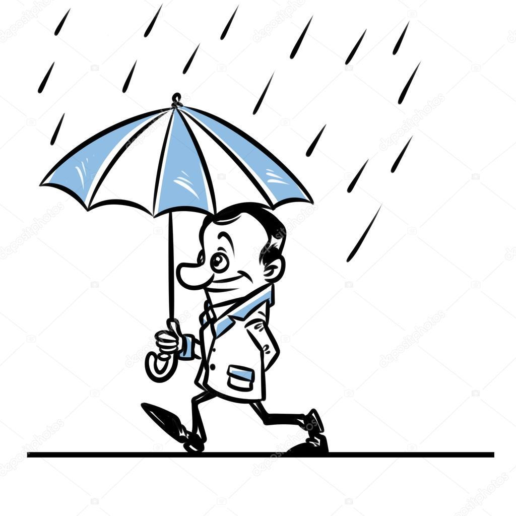 Walk Rain Umbrella Man Cartoon