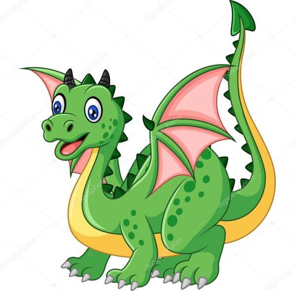 Смешной дракон Мультяшный смешной зеленый дракон