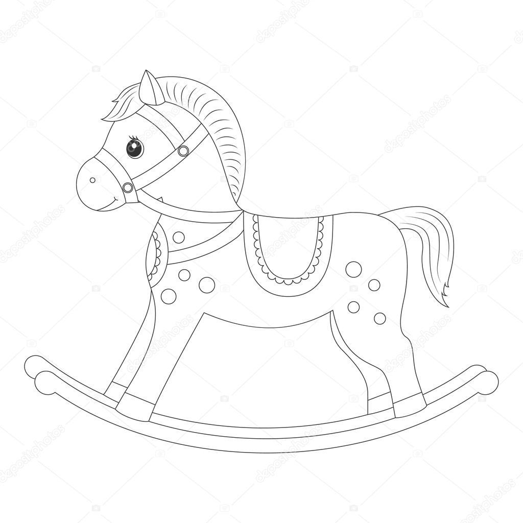 Cavallo A Dondolo Per Libro Da Colorare