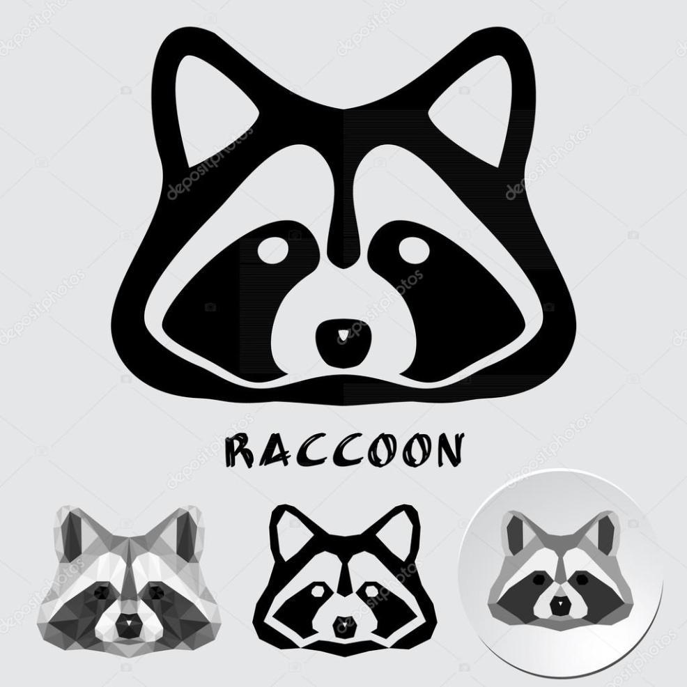енот логотип логотип лицом енот векторное изображение