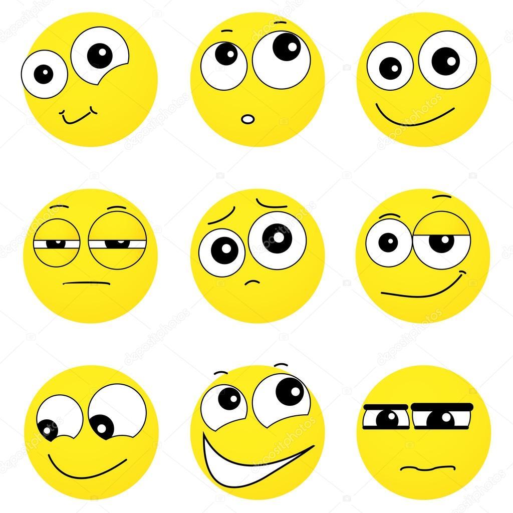 Set Smileygezichten Gevoelens Te Uiten Verschillende