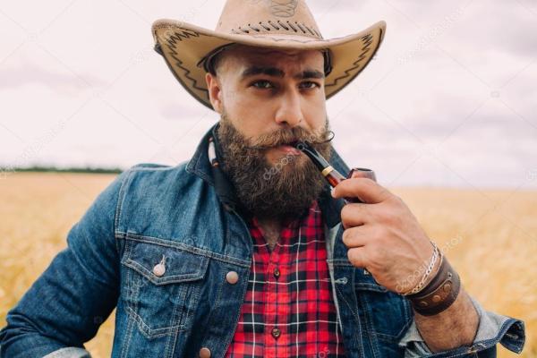 Бородатый мужчина в поле — Стоковое фото © anatoliycherkas ...