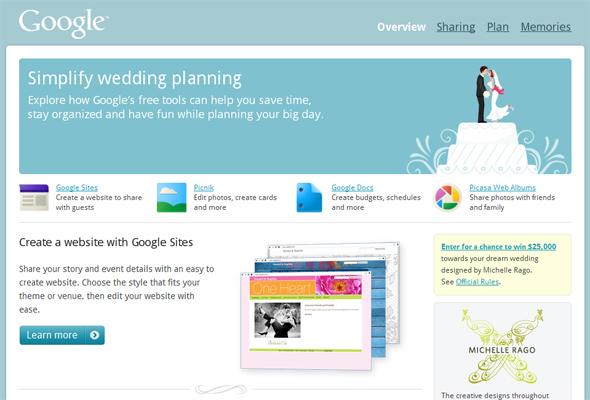 Página inicial do Google Wedding