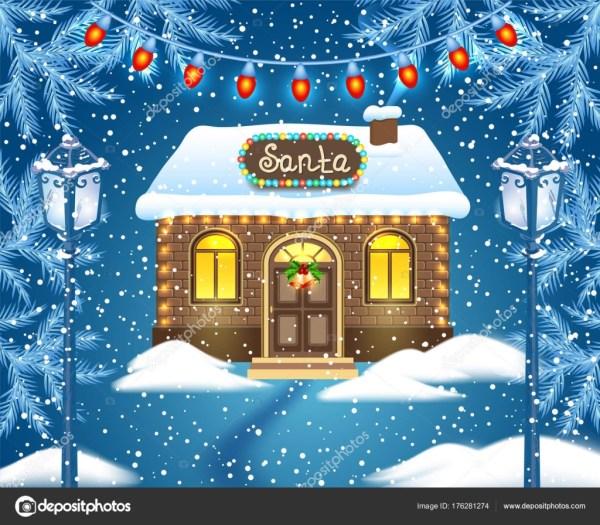 Рождественская открытка с кирпичный дом и мастерская Деда ...