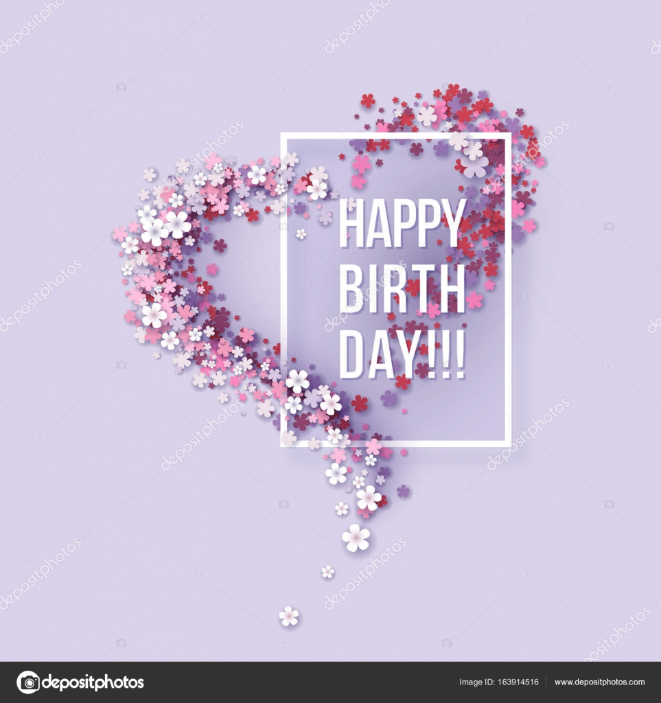Happy Birthday Poster Frame Flowers Heart Shaped Stock Vector C Valenty 163914516