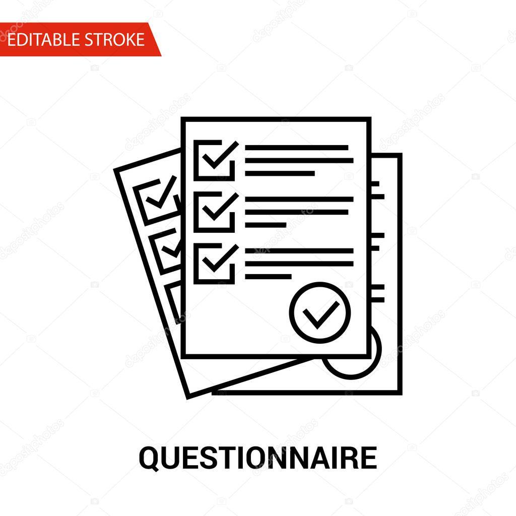 Icono Del Cuestionario Ilustracion De Vector De Linea