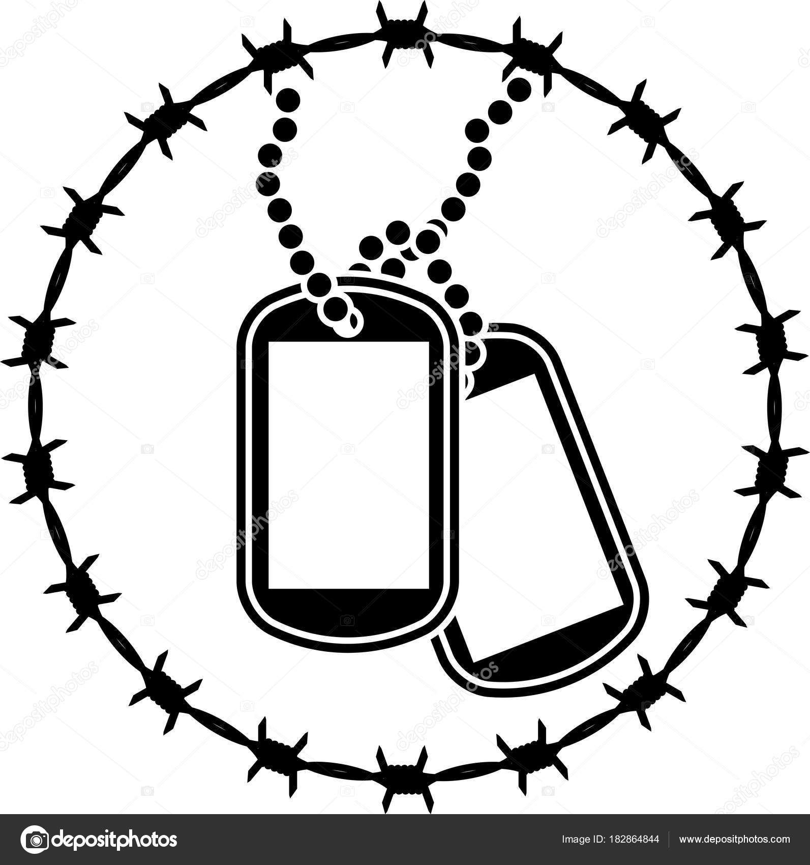 Dog Tags Barbed Wire Second Variant Vector Illustration