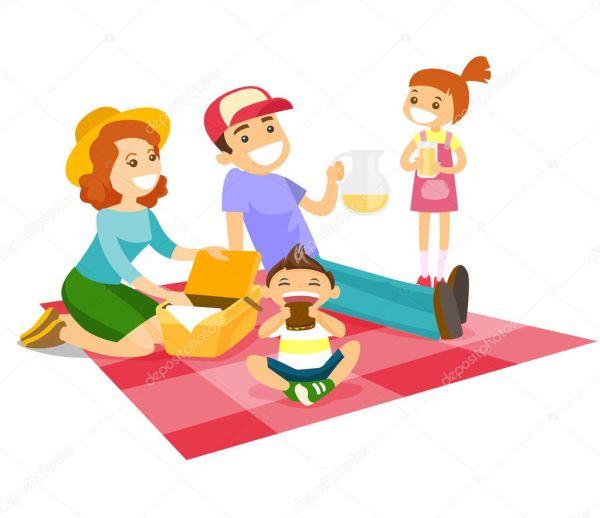 Кавказский белая семья пикник в парке — Векторное ...