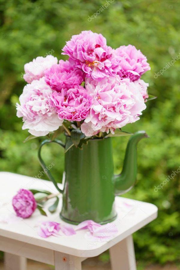 красивый Розовый пион букет цветов в саду — Стоковое фото ...