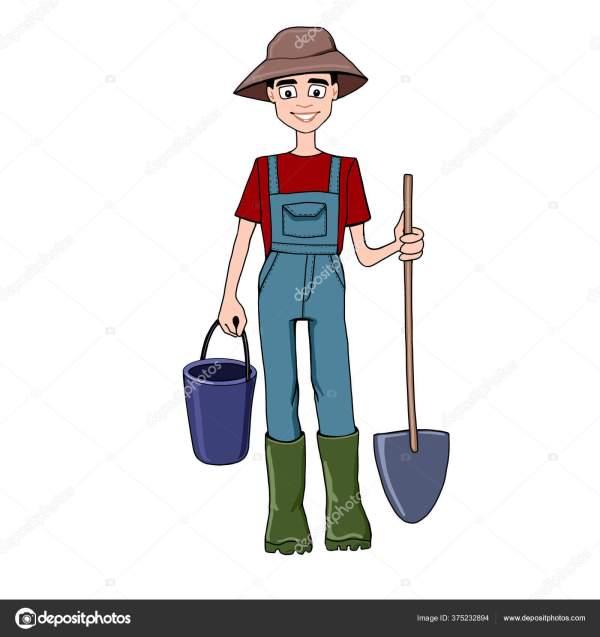 Характер Фермера Лопатой Ведром Ранчо Огород Огород ...