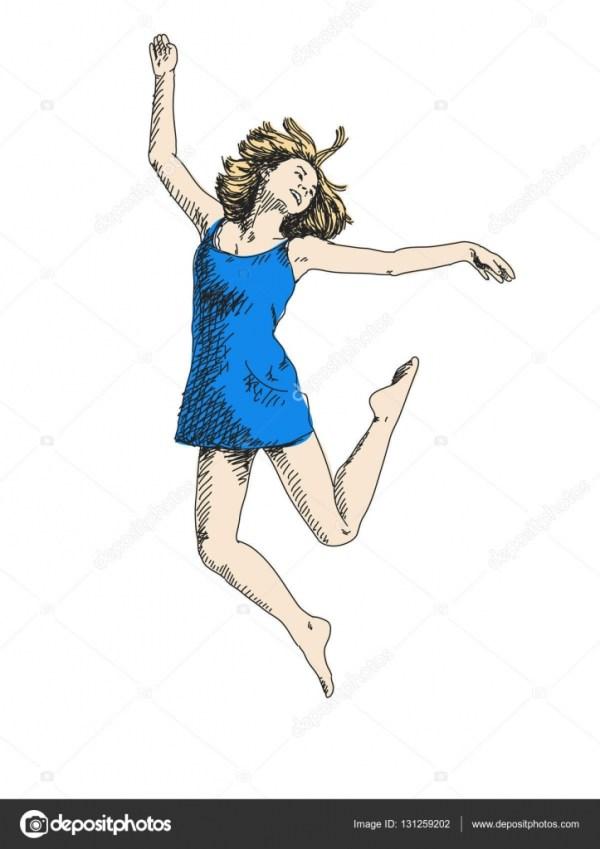 Танцующая женщина в синем платье — Векторное изображение ...