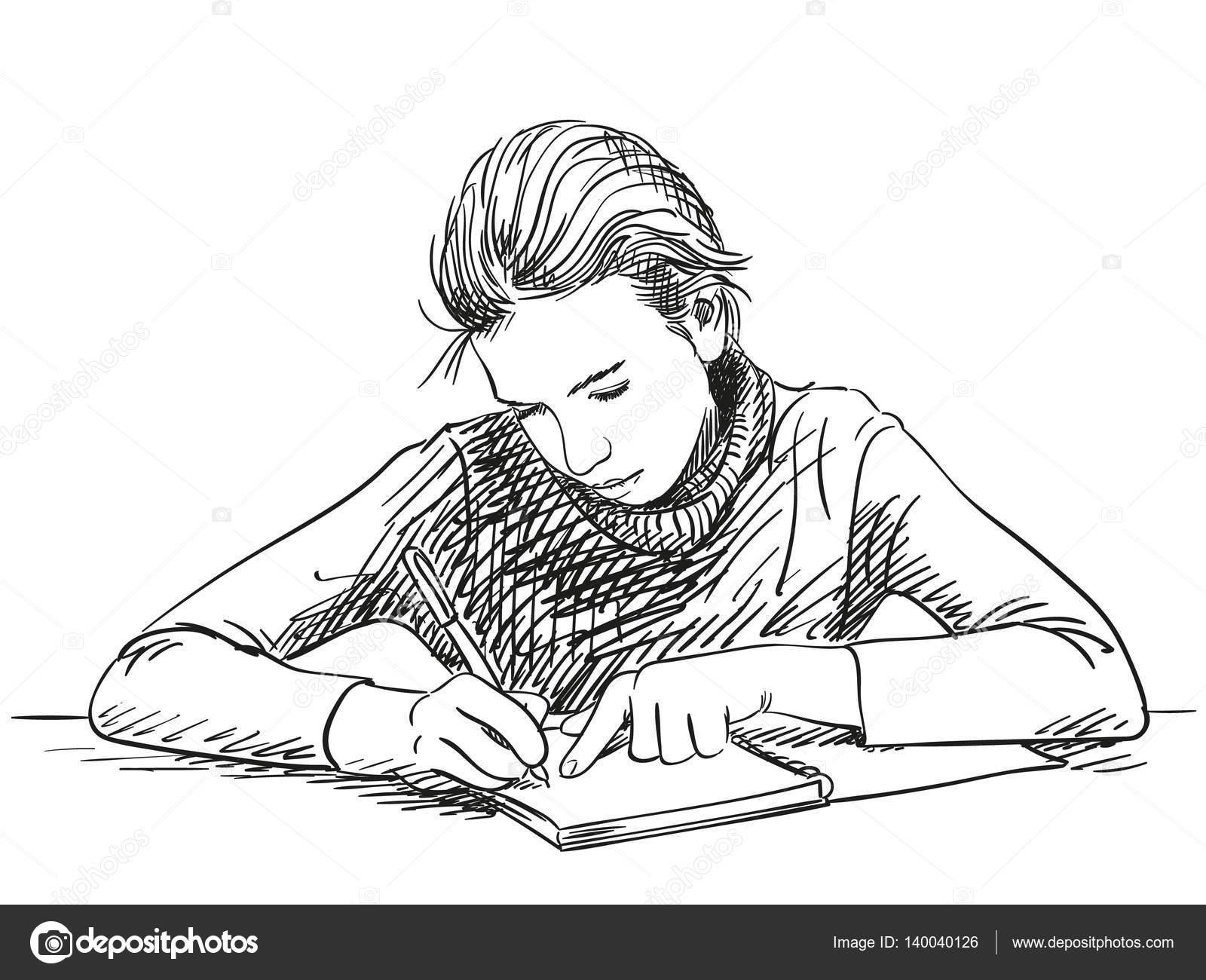 Chica Escribir En Cuaderno