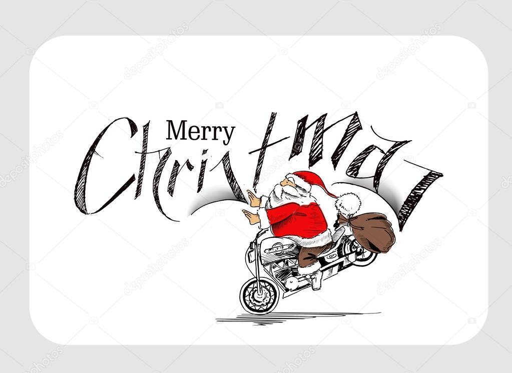 Santa Claus Auf Einem Motorrad Frohe Weihnachten