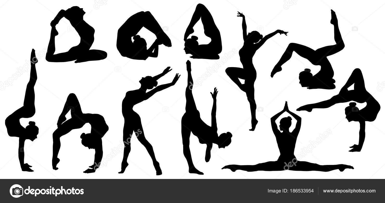 Gymnastics Poses Silhouette Set Of Flexible Gymnast