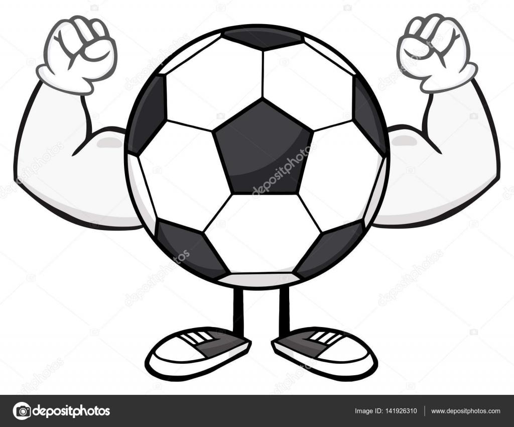 Mascote De Cartoon Sem Rosto De Bola De Futebol