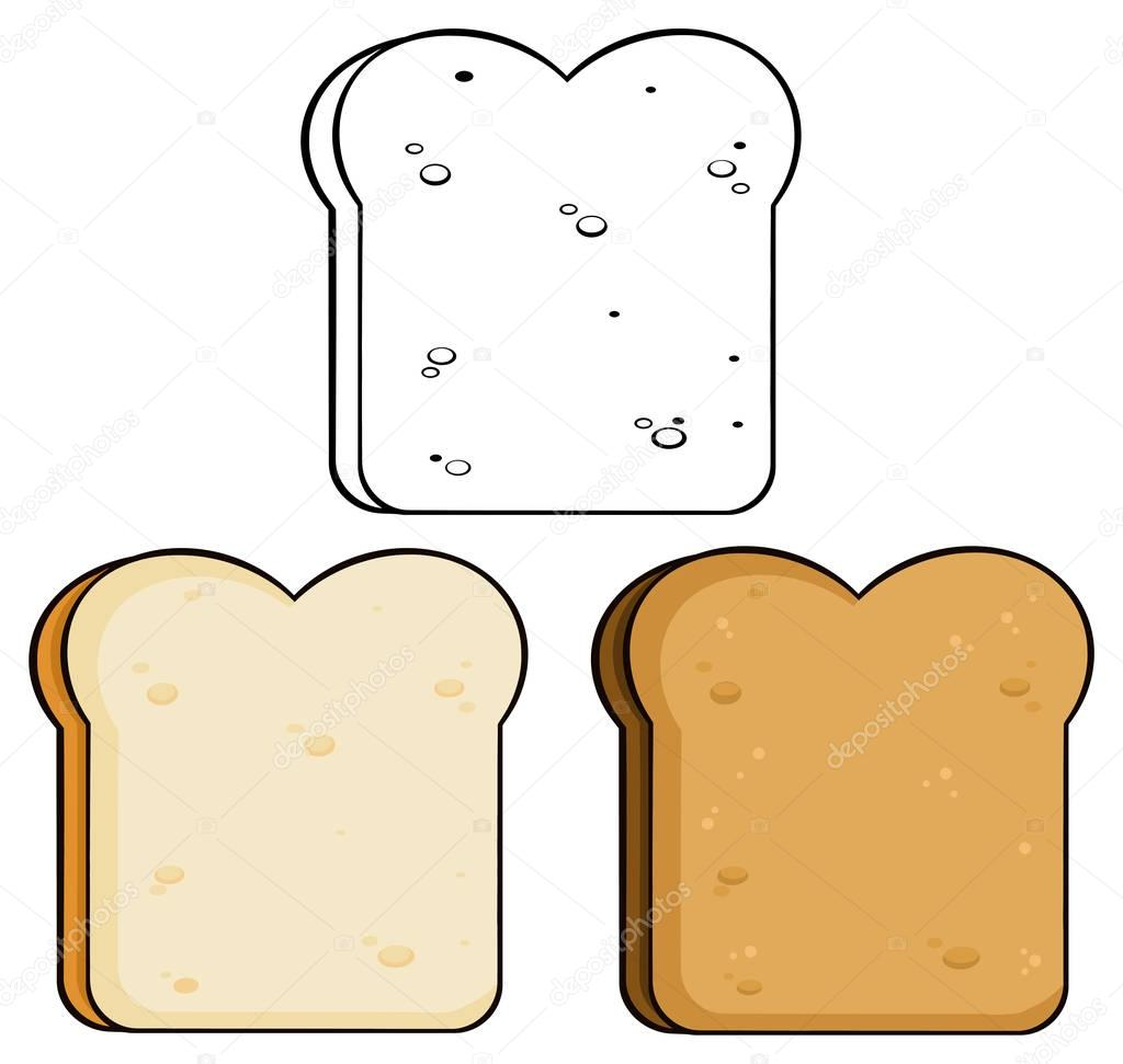 卡通吐司面包切片. — 圖庫矢量圖像© HitToon #141922370
