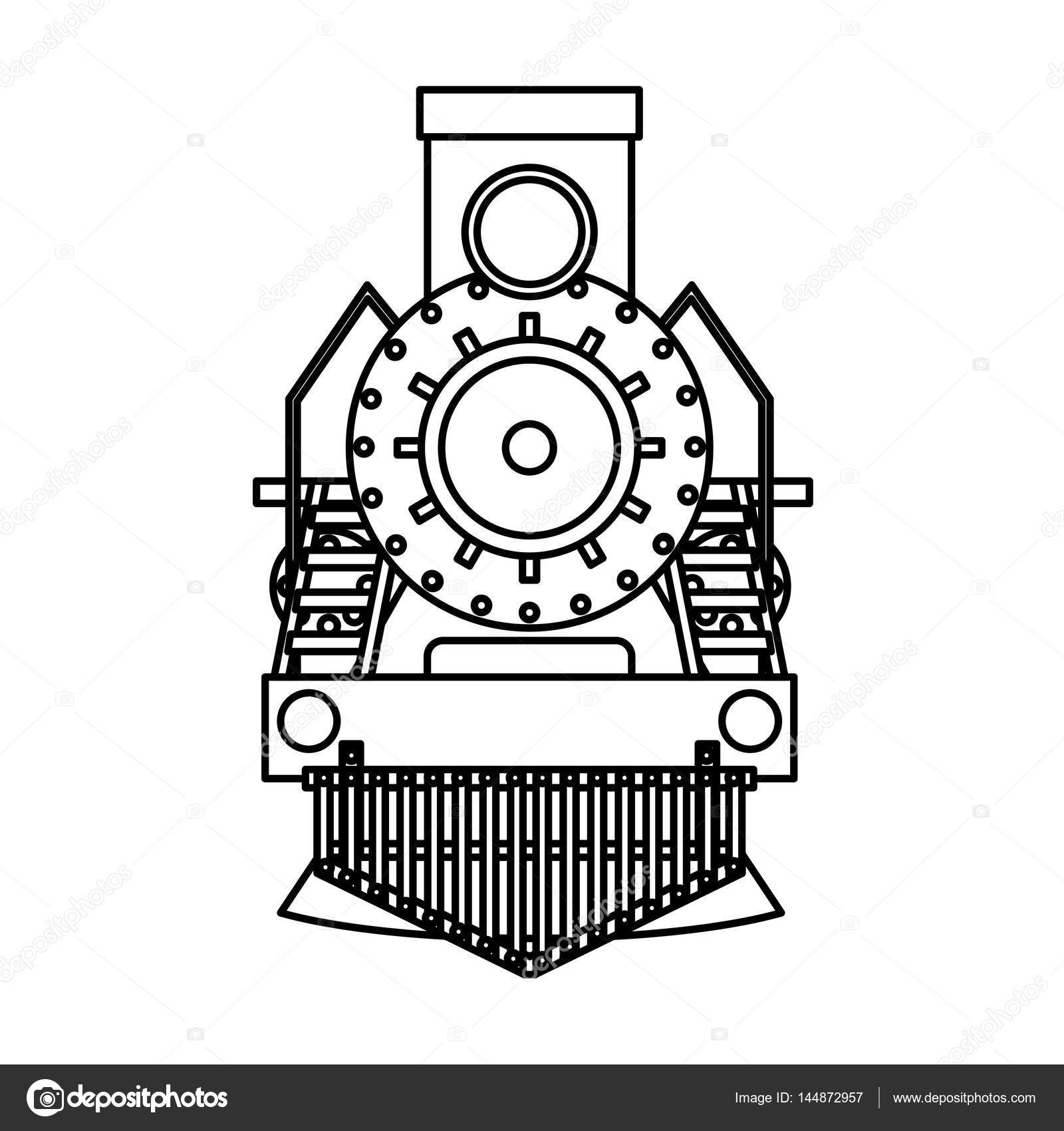 Steam Train Silhouette Isolated Icon