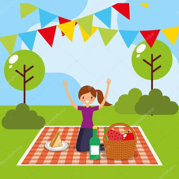 счастливые люди пикник — Векторное изображение © yupiramos ...