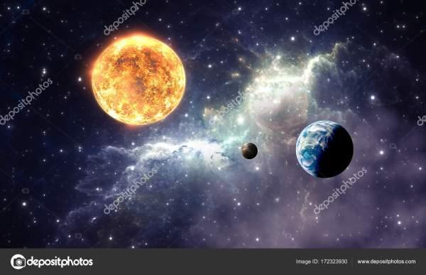 Planet pozasłonecznych lub Extrasolar na tle Mgławica ...