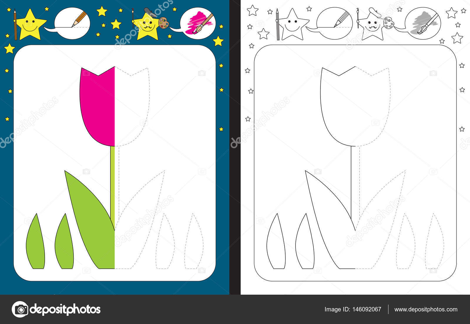 Illustrated Preschool Worksheet
