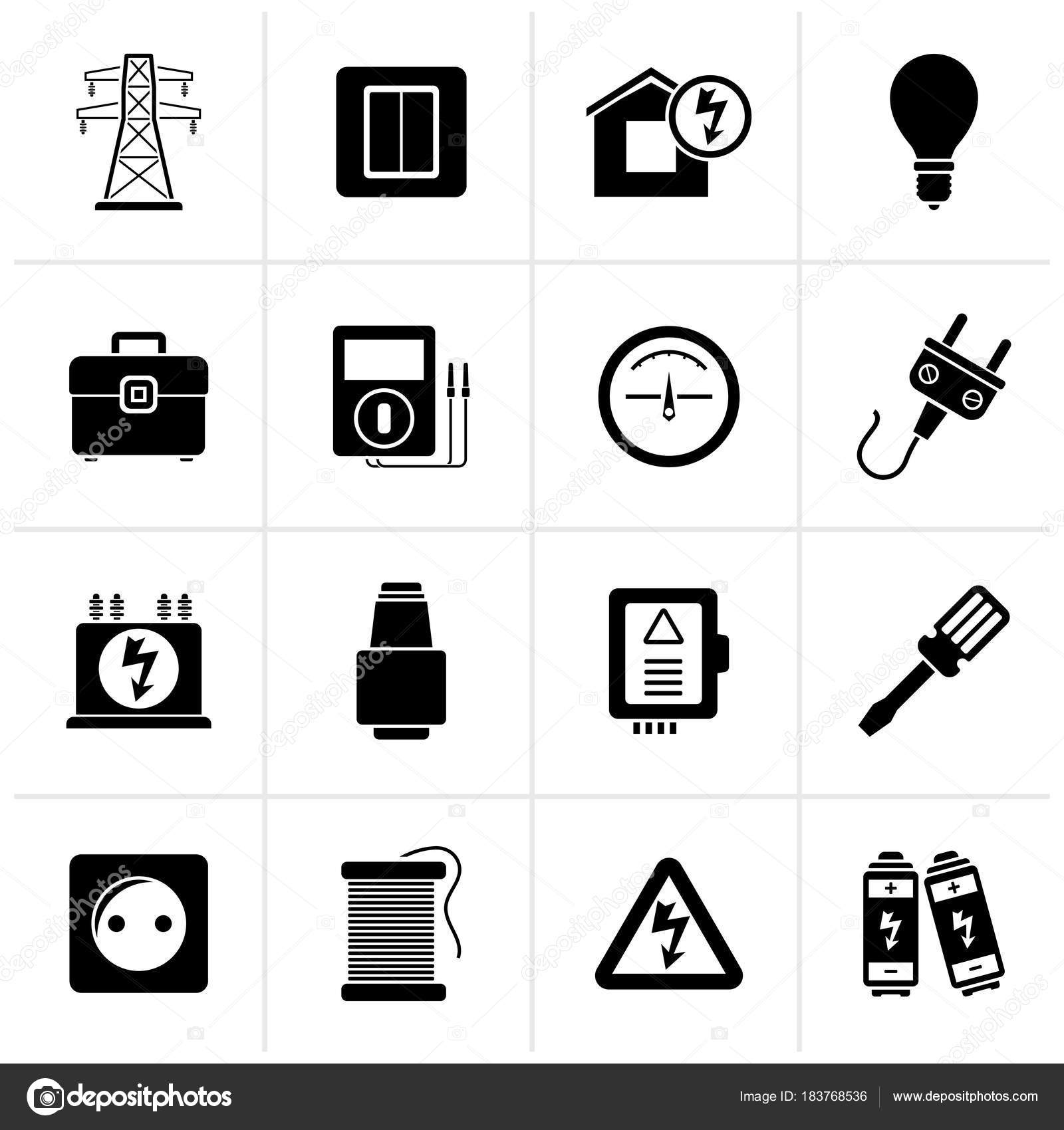 Black Power Energy Electricity Icons Vector Icon Set