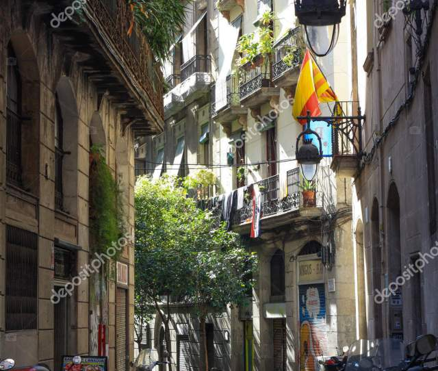 Barcelona Spain March   View Looking Down A Narrow Street In The Gothic Quarter Old Town Of Barcelona Spain Photo By Juan_gomez