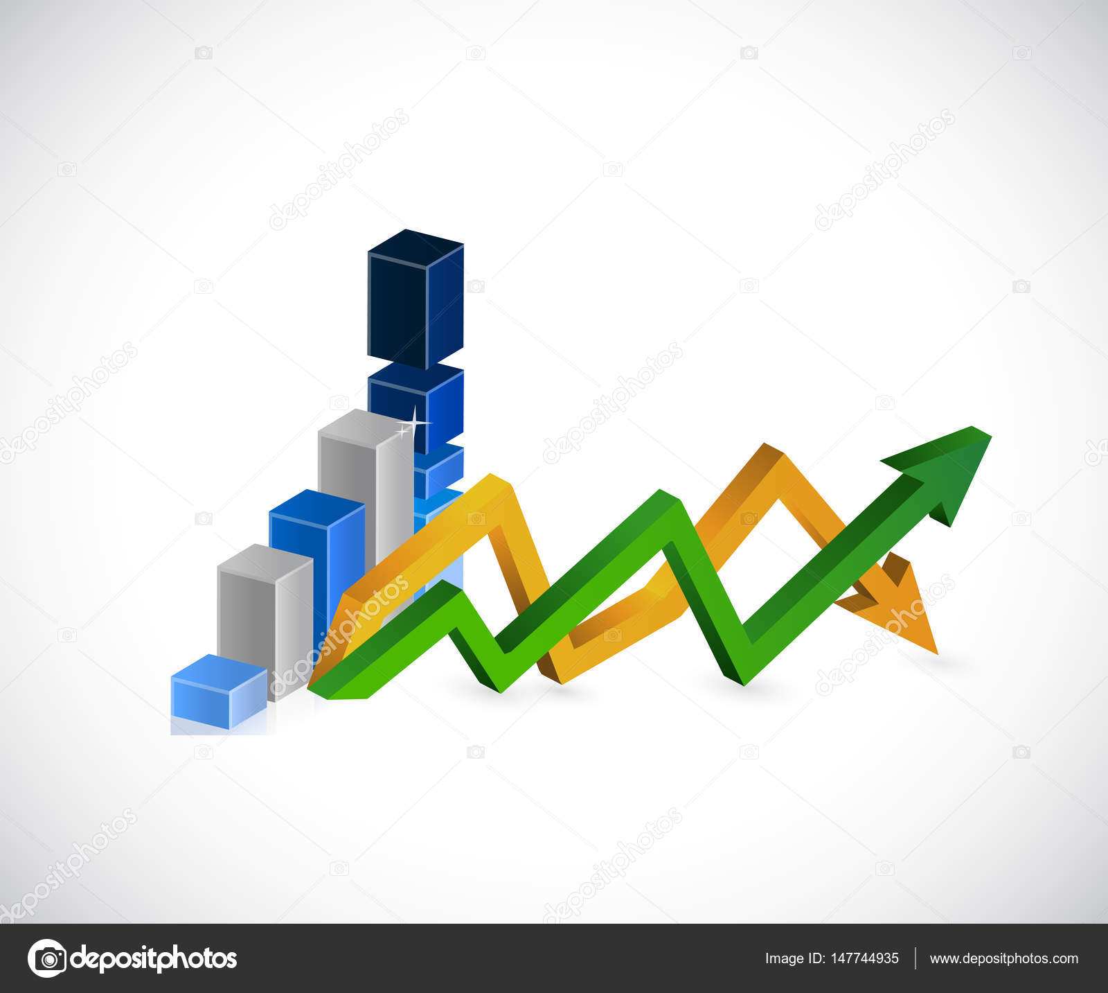 Blue Graph Up And Down Business Arrow Chart