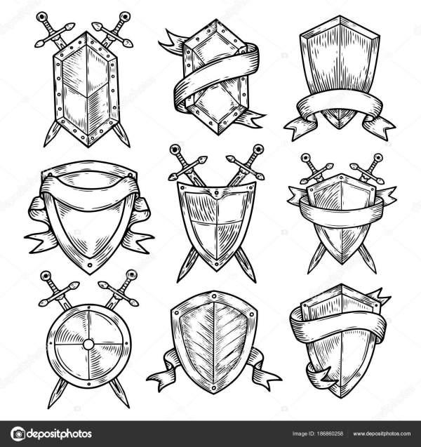 Пустой или пустой щиты с мечами и ленты. — Векторное ...