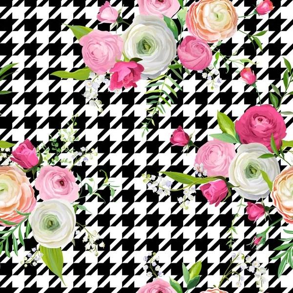 Ретро цветочные бесшовные модели акварель розовые цветы