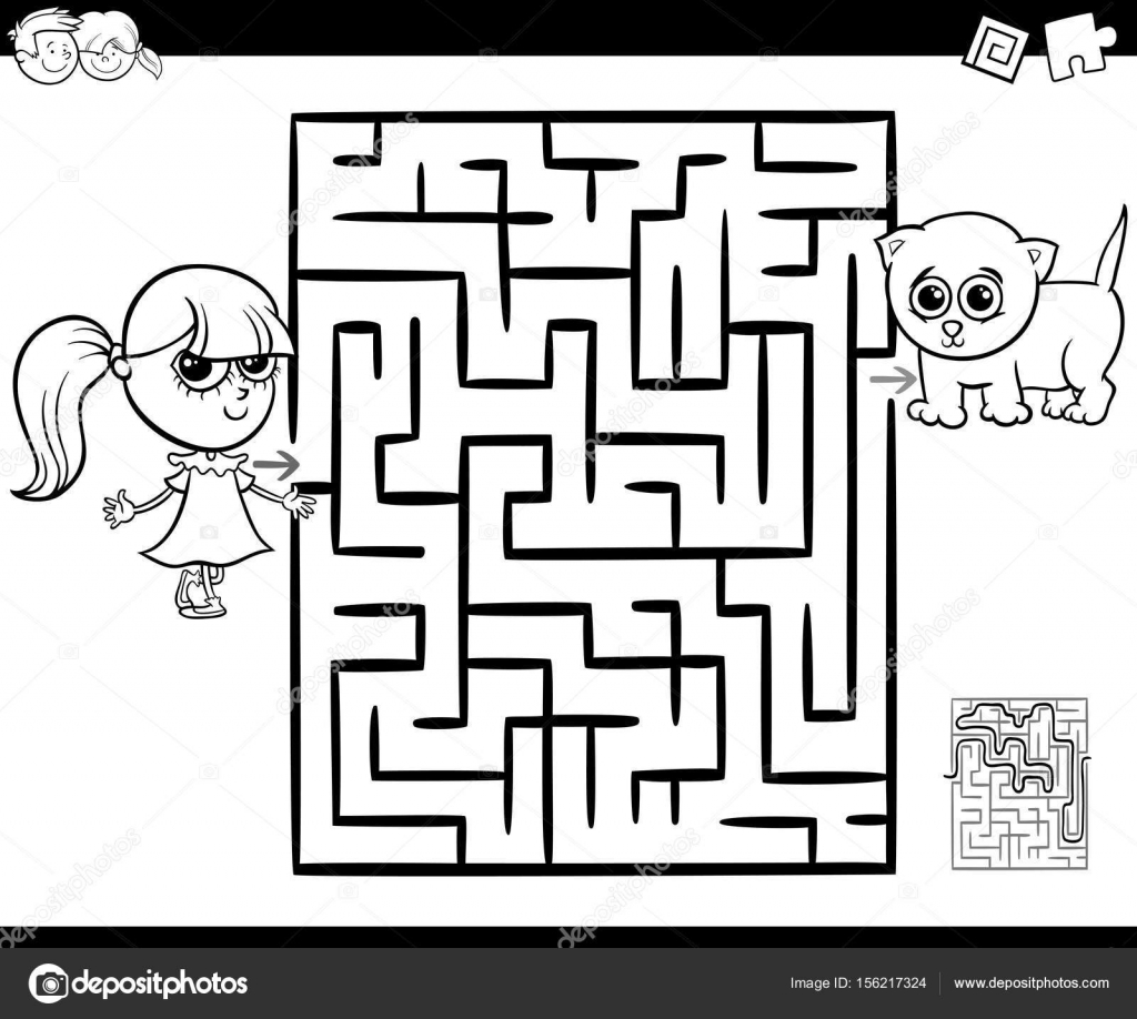 Maze With Girl And Cat For Coloring