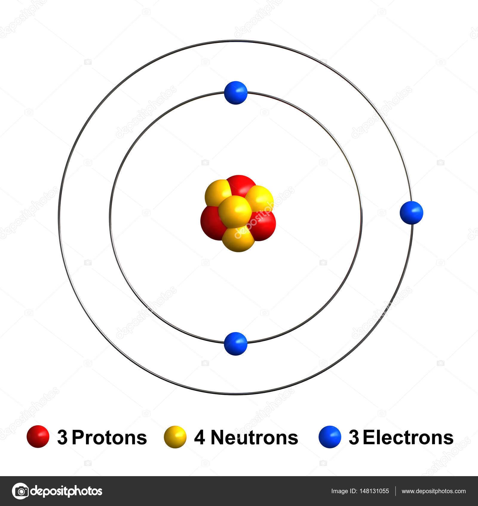 3d Render De La Estructura Del Atomo De Litio