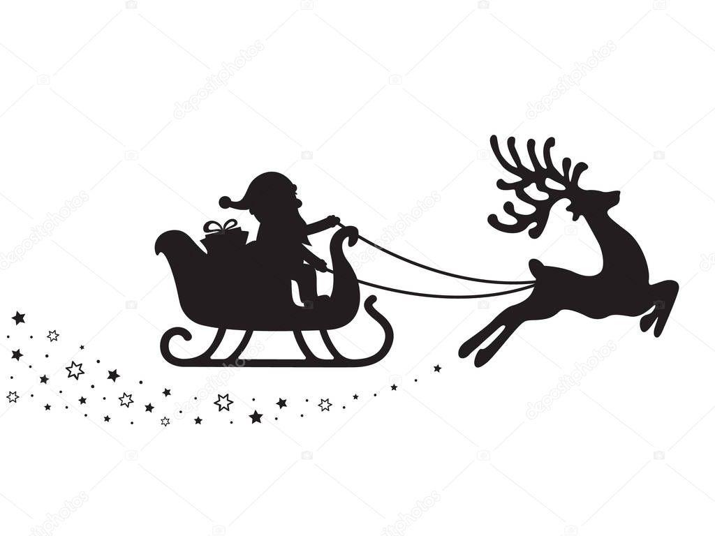 Santa Sleigh Silhouette Stars White Background