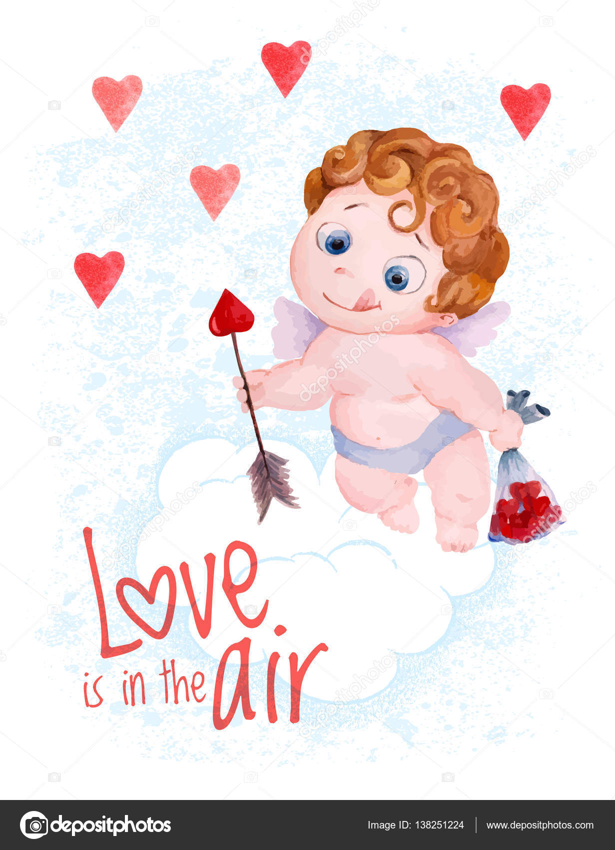 Valentines Day Cupid Angel Vector Illustration Stock Vector C Antuanetto 138251224