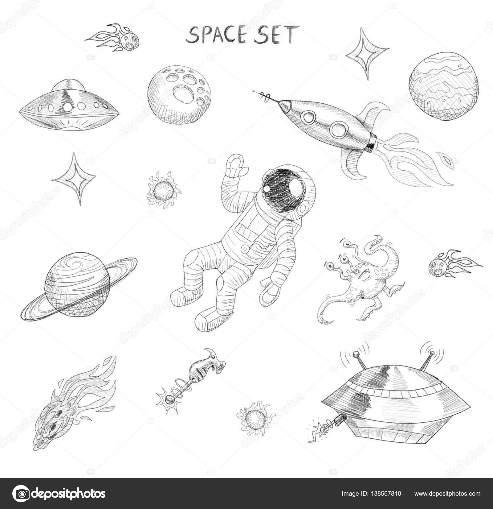 Tekening Van Ruimtevoorwerpen Astronaut Alien Ufo