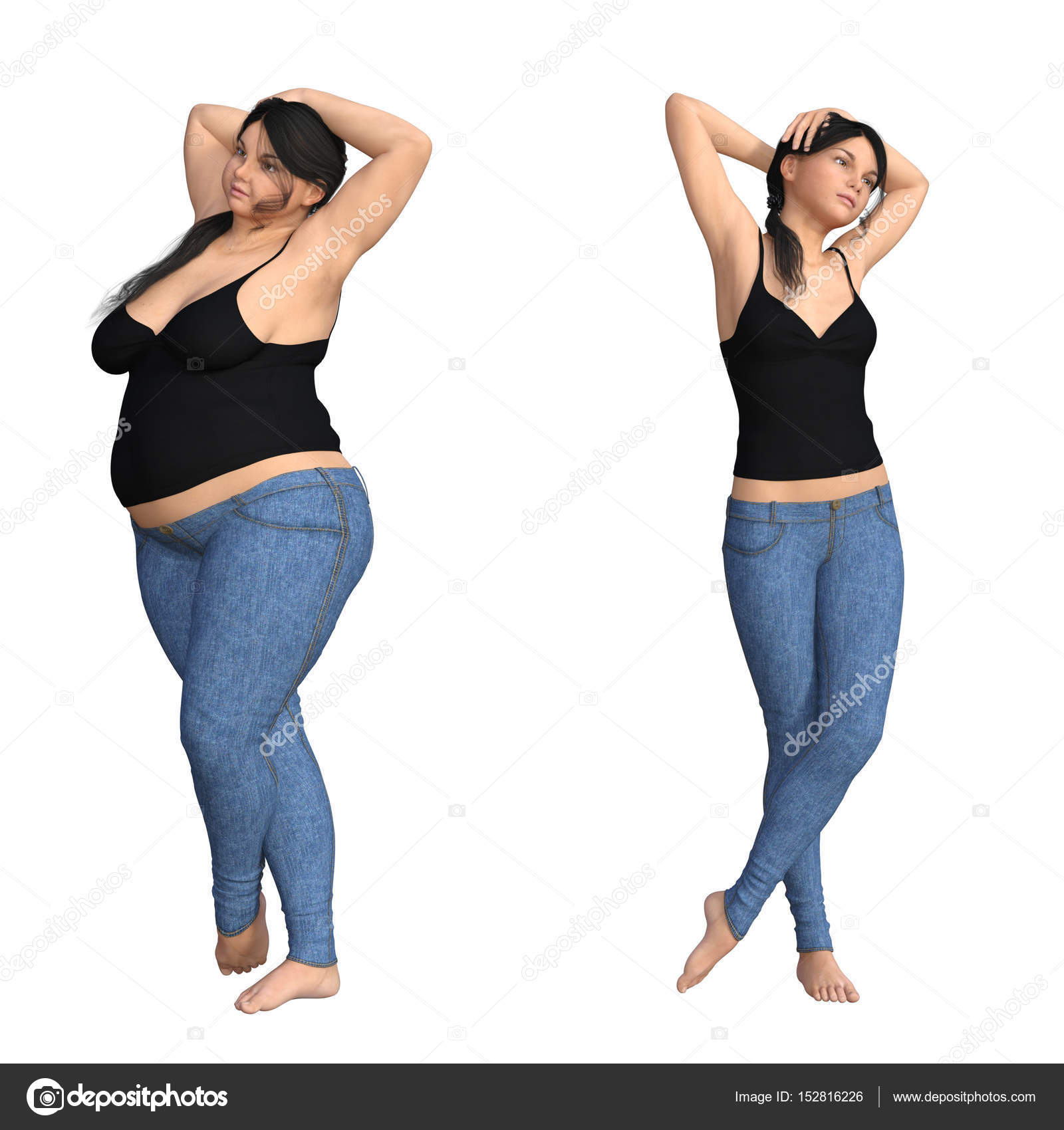 Fat Overweight Obese Female Vs Slim Fit Healthyt